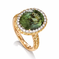 Green Tourmaline, Yellow Sapphire, & Diamond Ring
