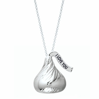 "Hershey's Kiss Sterling Silver ""I LOVE YOU"" Necklace"