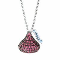 Hershey's Kiss Sterling Silver Necklace with Dark Pink CZs