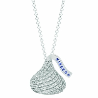 Hershey's Kiss Sterling Silver Necklace with White CZs