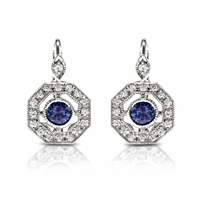 18K, Diamond & Sapphire Vintage Style Earrings