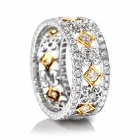 18K Two Tone Diamond Band by Beverley K