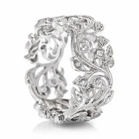 18K White Gold & Diamond Vine Band by Beverley K
