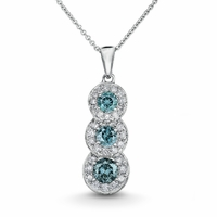 Blue & White Diamond Necklace 1.64ctw
