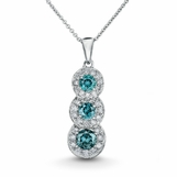 Aqua Blue Diamond & White Diamond Necklace 1.64ctw