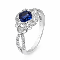Lyria Blue Sapphire & Diamond Ring by Parade