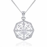 Diamond & 18K White Gold Antique Style Necklace by Beverley K