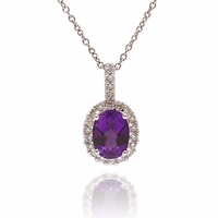 Ladies Diamond & Amethyst Necklace