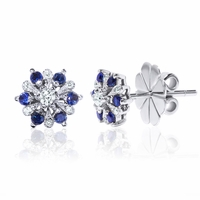 18K Diamond & Blue Sapphire Earrings