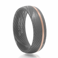 Lashbrook Damascus Steel & Rose Gold Wedding Band - KOBE