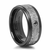 KAL-EL Black Zirconium & Meteorite Ring With Black Diamond by Lashbrook