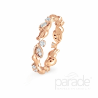 Lyria Leaf Rose Gold Diamond Band