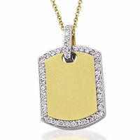 Meira T Diamond Encrusted Dog Tag Necklace