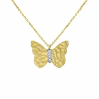 Meira T Gold Butterfly Necklace With Diamonds
