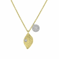 Meira T Petite Gold Leaf Necklace With Diamonds