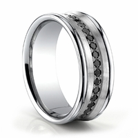 Mens 14K White Gold Ring With Black Diamonds