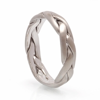 Mens Braided White Gold Band