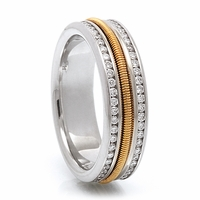 Mens Diamond Eternity Gold Cable Band