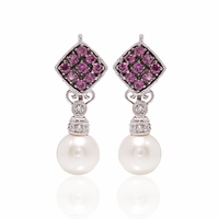 Pink Tourmaline & Diamond Earrings With Pearls