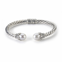 Pearl Sterling Silver Bangle by Samuel B