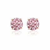 PGD Pink Diamond Stud Earrings set in 14K Rose Gold - .43ctw
