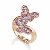 Pink Sapphire & Diamond Butterfly Ring