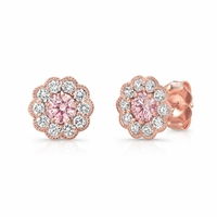 Pure Grown Diamonds Pink Diamond Halo Earrings in 14K Rose Gold