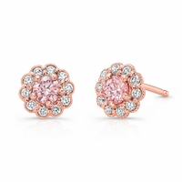 Pure Grown Diamonds Pink Diamonds, White Diamonds in 14K Rose Gold Halo Earrings