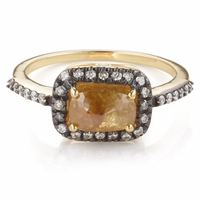 Rough Cut Carmel Colored Diamond Ring - Kamala Collecton
