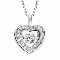 Rhythm of Love Diamond Pendant  - Halo Heart