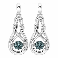 Rhythm Of Love Blue Diamond Silver Earrings
