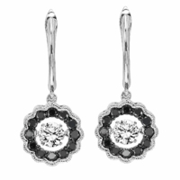 Rhythm Of Love Black & White Diamond Halo Earrings