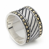 Samuel B Stering Silver & 18k Gold Diagonal Groove Beaded Design Wide Men's Ring