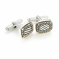 Samuel B Sterling Silver & 18k Gold Diagonal Groove Beaded Design Cufflinks