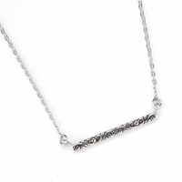 Samuel B Sterling Silver & 18K Gold Scroll Design Bar Necklace