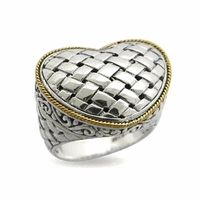 Samuel B Sterling Silver & 18k Gold Woven Heart Design Ring