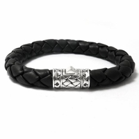 Samuel B Sterling Silver Basketweave Leather Men's Bracelet