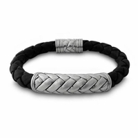Samuel B Sterling Silver Braided Black Leather Bracelet