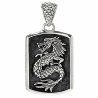 Samuel B Sterling Silver Dragon Dog Tag Men's Pendant