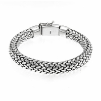 Samuel B Sterling Silver Imperial Basketweave Men's Bracelet