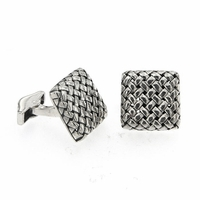 Samuel B Sterling Silver Square Basketweave Pattern Cufflinks