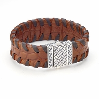 Samuel B Sterling Silver & Stitched Brown Leather Basket Weave Man's Bracelet