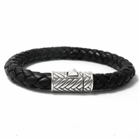 Samuel B Sterling Silver Woven Black Leather Men's Bracelet