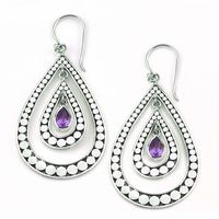 Sterling Silver Pear Shape Dot Design Earrings with Amethyst