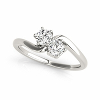 Two Stone Diamond Bypass Ring - Zoey