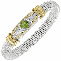 Vahan Sterling and 14K Gold, Diamond and Peridot 8mm Bracelet