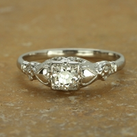 Clementine - Vintage 14K White Gold and Diamond Ring