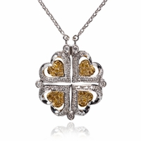 "Yellow & White Diamond ""4 Hearts"" Necklace"