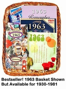 60th Birthday Gift Basket, 1953 Gift Basket