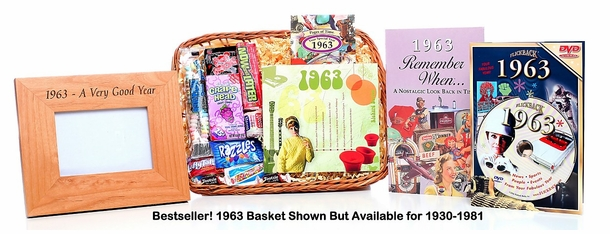 62nd Birthday Gift Basket, 1953 Gift Basket